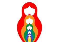 Russian nesting doll matrioshka, set icon colorful symbol of Russia, Royalty Free Stock Images
