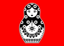 Russian nesting doll matrioshka, sticker icon symbol of Russia, vector isolated Stock Image
