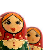 Russian Nesting Dolls. Two Russian Nesting Dolls on a white background Stock Photo