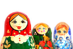 Russian Nesting Dolls. On a white background Royalty Free Stock Images