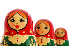 Russian Nesting Dolls. Three Russian Nesting Dolls on a white background Stock Photography