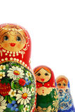 Russian Nesting Dolls. Three different russian nesting dolls on a white background Stock Photo