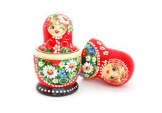 Russian Nesting Dolls. An opened Russian doll isolated on a white background Royalty Free Stock Image