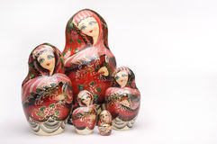 Russian Nesting Dolls. Colorful russian nesting dolls isolated on a white background stock image