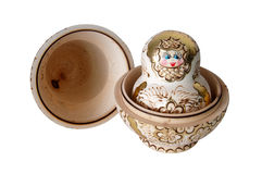 Russian nesting dolls (babushka) half open Royalty Free Stock Photo
