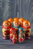Russian nesting dolls  babushkas or matryoshkas Stock Photos