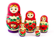 Russian nesting dolls. Babushkas or matryoshkas. Set of 5 pieces Royalty Free Stock Images