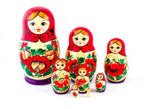 Russian nesting dolls. Babushkas or matryoshkas. Set of 8 pieces Royalty Free Stock Photography