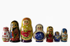 Russian Nesting Dolls. Group of mixed vintage nesting dolls Royalty Free Stock Photography