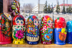 Russian Nesting Dolls in a Line Royalty Free Stock Images