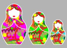 Russian nesting dolls matrioshka, set icon multi colored symbol of Russia with colors decoration ,  isolated. Matryoshka set stickers icon Russian nesting doll Royalty Free Stock Images