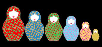 Russian nesting dolls matrioshka, set icon colorful symbol of Russia, toys for kids,  and black background Stock Images