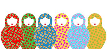 Russian nesting dolls matrioshka, set icon colorful symbol of Russia, toys for kids,  and blue background Royalty Free Stock Images