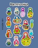 Russian nesting dolls, Matryoshka, sticker set for your design. Vector illustration Stock Photography