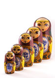 Russian nesting dolls. Set of russian dolls of decreasing sizes.Isolated on white Royalty Free Stock Photo