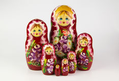 Russian nesting dolls on a white background. Royalty Free Stock Images
