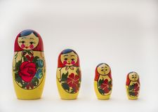 Russian nesting dolls on a white background royalty free stock photos