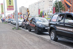 Russian NOD Political Meeting in Ufa. NOD demonstration cars displaying the flag of St George in Ufa Russia in May 2015 royalty free stock photography
