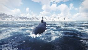 Russian nuclear-powered submarine front view Royalty Free Stock Photography