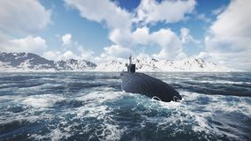 Russian nuclear-powered submarine front view Stock Images