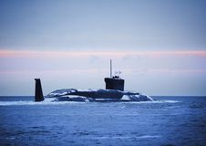 Russian nuclear submarine. Comes with a dock on a mission Royalty Free Stock Image
