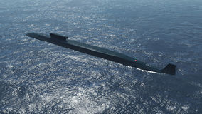 Russian nuclear submarine Borei at sea Royalty Free Stock Photography