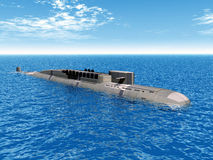 Russian Nuclear Submarine. Computer generated 3D illustration with a Russian Nuclear Submarine of the cold war Royalty Free Stock Photography