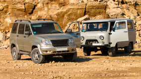 Russian off-road. Russian off-road in the iron ore quarry Royalty Free Stock Images