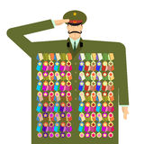 Russian officer and awards and medals. Illustration for 23 Febru Stock Image