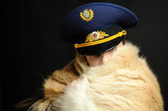 Russian officer and fur coat Royalty Free Stock Photography