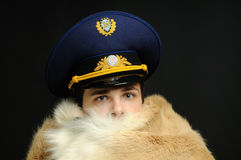 Russian officer and fur coat Royalty Free Stock Photos