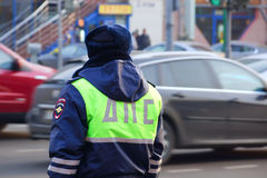 Russian officer patrol service at the post. Officer patrol service watching road traffic.moscow Stock Image
