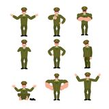 Russian Officer set poses and motion. Soldier happy and yoga. sl. Eeping and angry Military in Russia. guilty and sad. Illustration for 23 February. Defender of Royalty Free Stock Photo