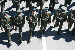 Russian officers march Royalty Free Stock Photo
