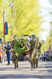 Russian officers at the parade on the occasion of the Victory Day celebrations on May 9. 2015 Stock Images
