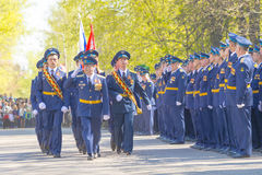 Russian officers at the parade on the occasion of the Victory Day celebrations on May 9. 2015 Royalty Free Stock Images