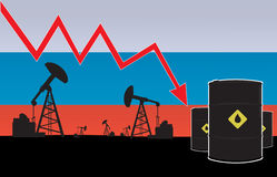 Russian oil price fall on oil pump field and Russian flag background Royalty Free Stock Photos