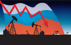 Russian oil price fall vector illustration Royalty Free Stock Images