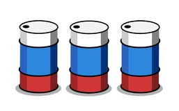 Russian oil production. Barrel for petrol and gas has colors of Russia. Petroleum industry in the country. Vector illustration royalty free illustration