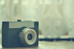 Russian old analog camera. Old retro photo. Stock Photos