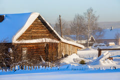 Russian old-believer village Visim in winter. Sverdlovsk region, Russia. Early winter morning in the russian old-believer village Visim. The village is situated Royalty Free Stock Photo
