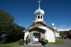 Russian Old Believers Church in Nikolaevsk Alaska. On sunny day stock photography