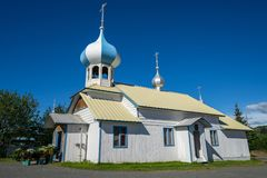 Russian Old Believers Church in Nikolaevsk Alaska. Is a traditional Russian Church with a dome and is a historic building royalty free stock photo