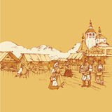 Russian old fair bazaar vector drawing. People walk near the stalls with food. On the shelves of fish, bagels, pastries, cakes. The church and clouds in the Stock Photo
