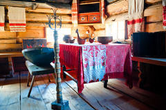 Russian old-fashioned traditional interior hut Royalty Free Stock Images
