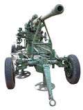 Russian old green anti-aircraft gun isolated over white Stock Photography