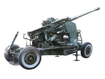 Russian old green anti-aircraft gun isolated over white Stock Images