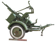 Russian old green anti-aircraft gun isolated over white. Background Royalty Free Stock Photography