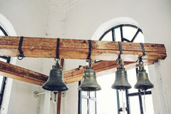 Russian old iron chirch bells Stock Photo