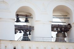 Russian old iron church bells in Orthodox Church Stock Image